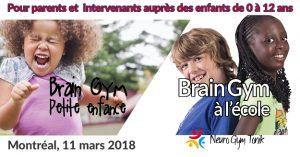 Brain Gym petite enfance et école, 11 mars à Montréal